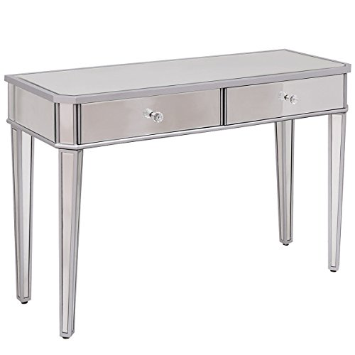Tangkula Silver Mirrored Table Home Vanity Make-up Desk Console with Drawers by Tangkula