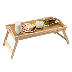 Bed Tray Table with Folding Legs, Breakfast in Bed Tray, Lightweight Laptop Desk Portable Serving Tray with Handles, Bamboo Bed Tray for Eating, Drinking, Working