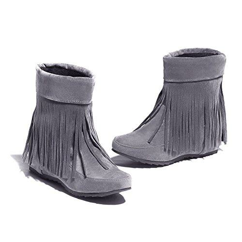 On Frosted Gray Closed Pull Heels AmoonyFashion Round Low Boots Mid Top Toe Women's TwqWzX7I