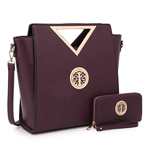 Women Handbag Cut Out Triangle Top Handle Bag Large Fashion Tote Satchel Work Purse (7464 Dark Purple + Matching Wallet)