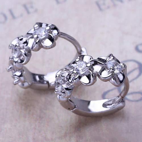 Earrings Hoop 5mm Medium (ywbtuechars Lady Girls Fashion Jewellery Charming Earrings Women's Sweet Camellia Flower Inlaid Zircon Huggie Ear Clips Hoop Earrings Studs - Silver)