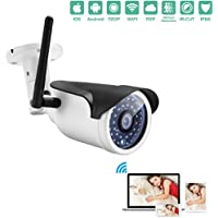 Fuers Wireless WIFI Weatherproof 720P 1.0MP P2P IP Outdoor Bullet Camera Home Security Surveillance with 36 IR Cut,Built-in 8G TF Card,Motion Detection Alert,65ft Night Vision Distance)