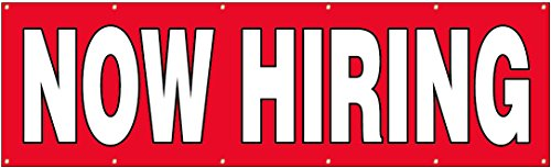 - 4Less 3x10 Ft Now Hiring Banner Vinyl Alternative Sign - Fabric rb