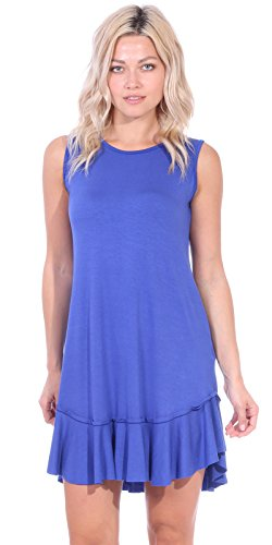 Popana Women's Casual Summer Tank Midi Dresses Knee Length Beach Sundress Made in USA - Royal 3X
