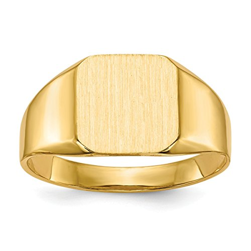 Ring Personalized Tapered (Roy Rose Jewelry 14K Yellow Gold Mens Tapered Square Signet Ring FREE Custom Personalized Engraving with 3 Letter Monogram)