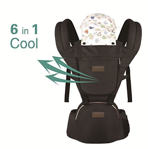 Vedar Black Baby Carrier with Hip SEAT for Smart Moms Top Performance Adjustable Sling 4 Comfortable and Safe Positions for Infant Toddlers Perfect for Shopping