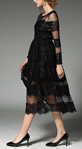 De Gama Alta SAPEOO Estrella De Europa Y América Con El Vestido De Costura Del Cordón Hilo De Red Negro Perspectiva Atractiva Black