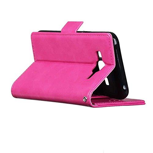 JIALUN-Personality teléfono shell Funda Samsung Galaxy J5, caso retro de la caja del dinero del caso del color sólido con 3 ranuras de efectivo de la tarjeta 1 caja lateral del modelo de la hebilla ma Pink