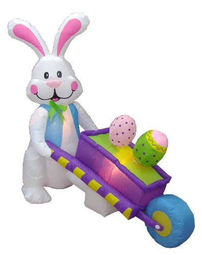 [4 Foot Inflatable Party Bunny Pushing Wheelbarrow with Eggs - Yard Blow Up Decoration] (Halloween Yard)