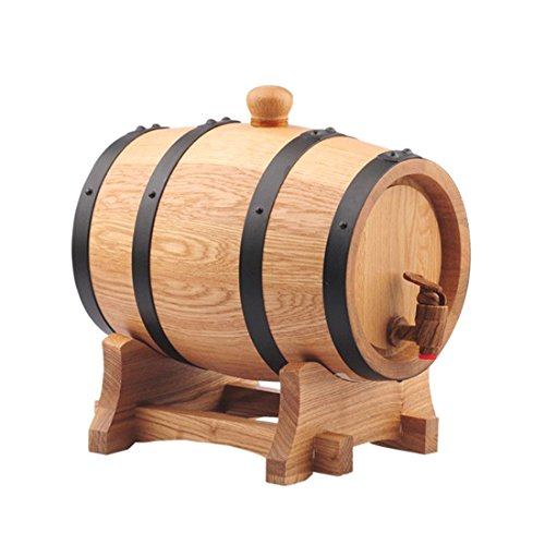 3L Natural Oak Wood Wooden Barrel No Wax No Glue Hand Craft Wine Cask Keg (Wine Barrel Counter Stool)