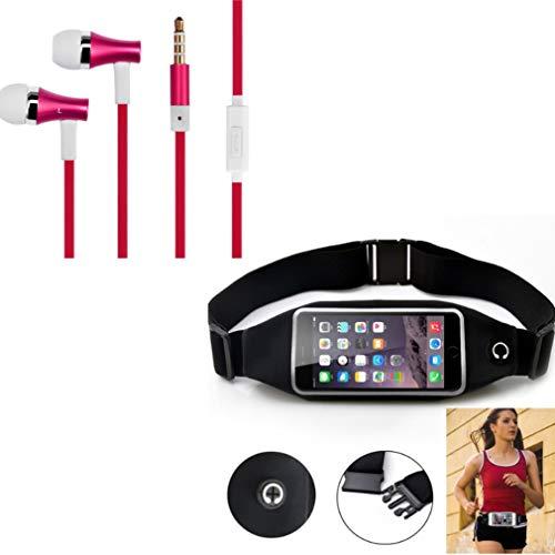 Black Sport Workout Belt Waist Bag Case w Red Earbuds Handsfree Earphones Mic V6Q Compatible with LG K20 Plus, Optimus G Pro, Lite, V50 ThinQ 5G, V40 ThinQ, V35 ThinQ, X Power, K8 V