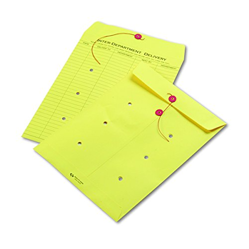 Quality Park QUA63576   String-Tie Interoffice Envelopes,1-Side Print,10x13,Yellow,100/Ctn (String Quality Park Tie)