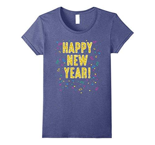 Womens Happy New Year T-Shirt Medium Heather Blue