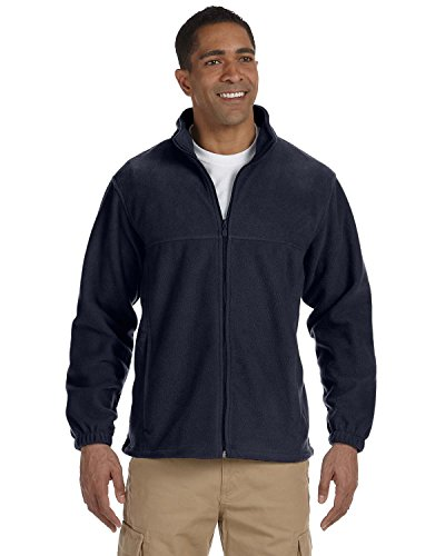 Harriton Men's Full Zip Midweight Fleece Pullover, NAVY, (Harriton Mens Full Zip Fleece)