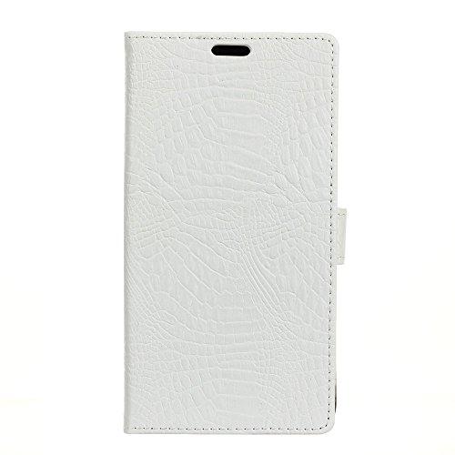 Funda Samsung Galaxy A8 2018 [Happon] Ranuras para Tarjetas y Billetera Carcasa PU Libro de Cuero Flip Leather Cierre Magnético Soporte Plegable para Samsung Galaxy A8 2018 (Azul) Blanco