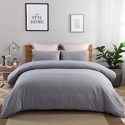 JML Duvet Cover Twin, 2 Pieces Reversible Duvet Cover Set with Zipper Closure - Ultra Soft Washed Microfiber, Hypoallergenic and Shrink Resistant Bed Comforter Cover, Grey