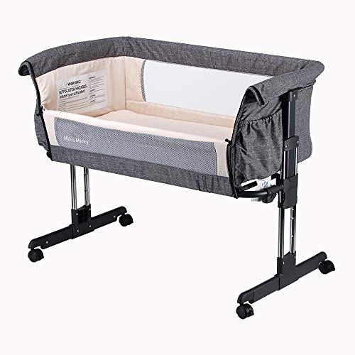 Mika Micky Bedside Sleeper Easy Folding Portable Crib,Grey (Best Bassinet For Small Spaces)