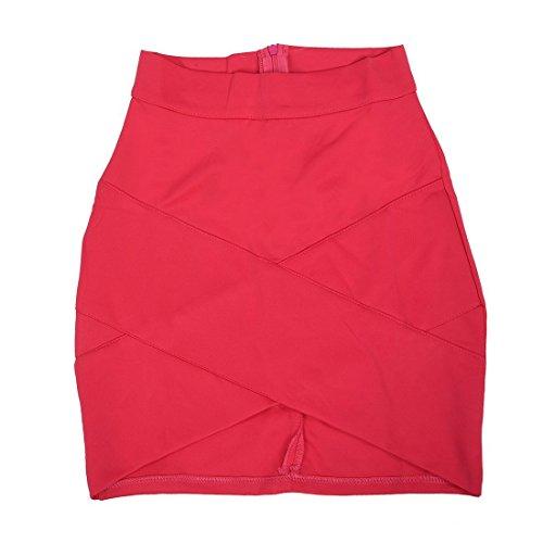 SODIAL (R)Dame elegante Casual Party a la mode pour femme Mini jupe court Stretch Bodycon Sexy Slim rose rouge S
