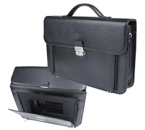 Elegante Aktentasche, abschließbar, Lederoptik, geeignet auch für Laptops, mit Schulterriemen und Griff