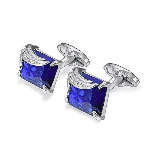 U7 Crystal Cufflinks Women Men Metal Gold/Platinum Plated Fancy Stone Cuff Links (Blue & Platinum)