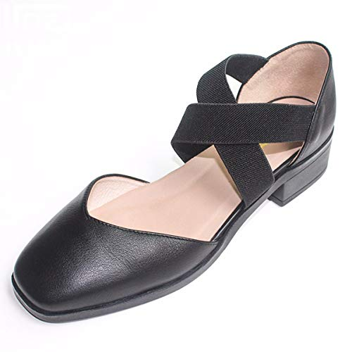 Square Simple 4Cm Middle Women'S Pack Heel Ballet Tightness Black Shoes Shoes Retro Wind Thirty Belt Six Head Sandals KPHY Back Dancer E7xqwT0E