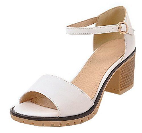 VogueZone009 Women PU Buckle Open-Toe Kitten-Heels Solid Sandals White
