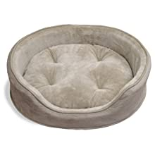 Furhaven Pet NAP Oval Terry Fleece and Suede Bed for Dog or Cat, XX-Large, Clay
