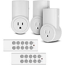 Etekcity Toma corriente con interruptor inalámbrico, a control remoto para electrodomésticos. Interruptor de luz inalámbrico, color blanco (código de transmisión y recepción 3Rx-2Tx)