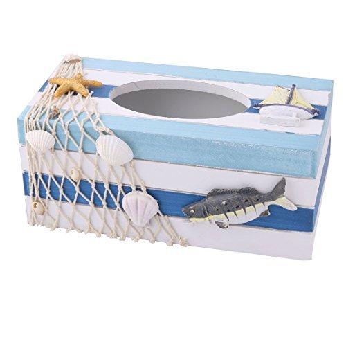 eDealMax Madera de la Familia Saln de pescado Shell Decoracin Tejido cuadro Titular Organizador Tricolor