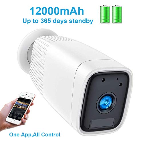 Wireless Rechargeable Battery Camera,FUVISION 1080P Outdoor Security CCTV Camera System,Motion Detect,Night Vision,IP66 Waterrproof,12000mAh Battery,2-Way Audio Wire-Free Security IP Camera (White) (Best Outdoor Cctv Camera)