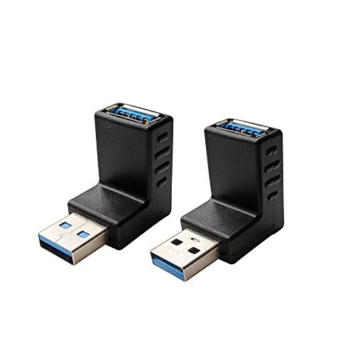 USB 3.0 Male to Female Extension Adapter - 90 Degree Right Angle USB A Male to A Female Extender - USB Male Upward and Downward Connector ()