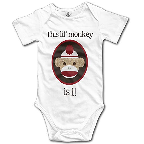 onlyou Red and Brown Sock Monkey First Birthday Kids Girls Cute Baby Onesies