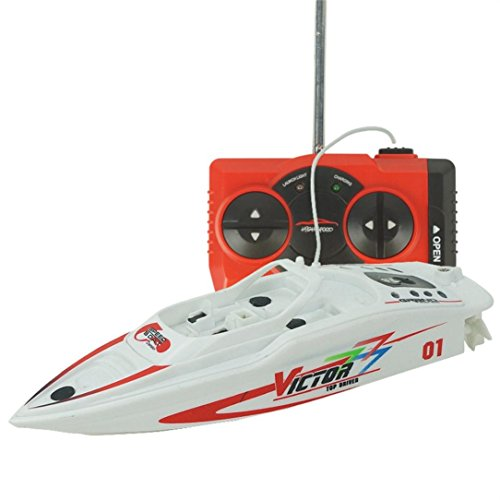 DZT1968 Remote Control 2.4GHz 4 Channel Water Cooling High Speed Racing RC 3.7V 120mah Boat Gift Outdoor Toy 15x4.7x4cm (White)