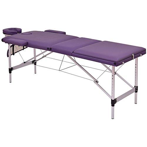 Purple 72u0027u0027L Portable Massage Table Heavy Duty Aluminum Frame Salon SPA  Chair Beauty