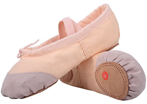 LONSOEN Ballet Slipper Shoes Split-Sole Dance Flat for Girls (Toddler/Little Kid/Big Kid) SHC55 Nude CN34]()