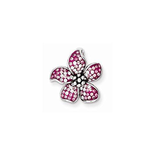 (Sterling Silver Rhodium Plated Pink Stellux Crystal Flower Slide)