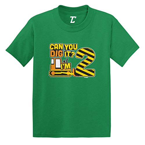 Muffin Green T-shirt - Can You Dig It? I'm 2 - Two Year Old Infant/Toddler Cotton Jersey T-Shirt (Kelly, 6 Months)