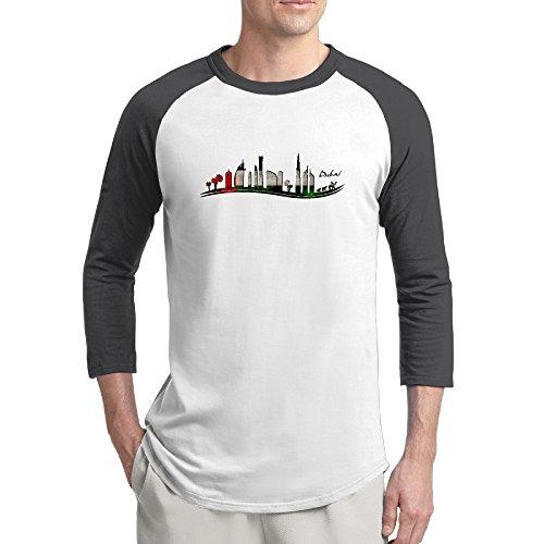 ReBorn United Arab Emirates Dubai Men's Baseball Raglan T-shirt Black XXL ()