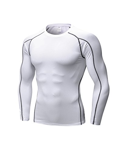 DZRZVD Men's Long Sleeve T-Shirts Baselayer Cool Dry Compression Top Athletic MZ2050G (Fatigue Sleeve Compression Long Tee)