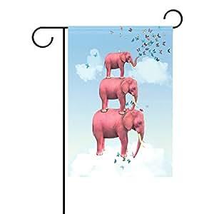 wozo tres elefantes rosa jardín bandera mariposas azul cielo poliéster bandera al aire libre casa fiesta