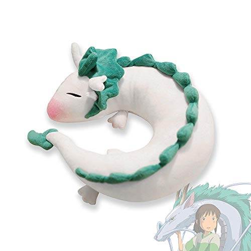 LAMONDE Japanese Plush Haku Spirited Away Dragon Neck U Pillow, Japanese Anime Stuffed Animal Body Pillow