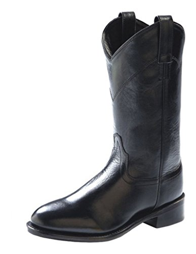 Old West Women's Leather Roper Boot Black 5.5 M US (Old West Outfit)