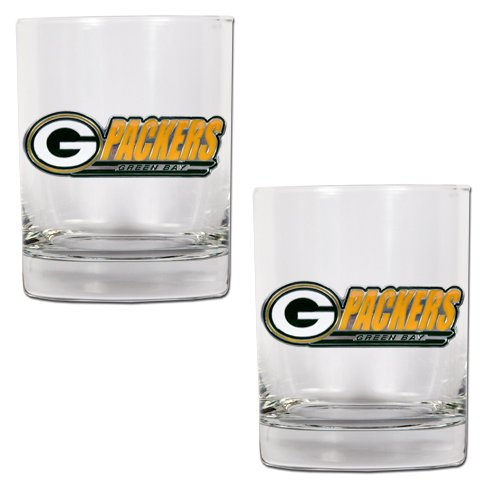 NFL Green Bay Packers Two Piece Rocks Glass - Rocks Green Bay Glass Packers