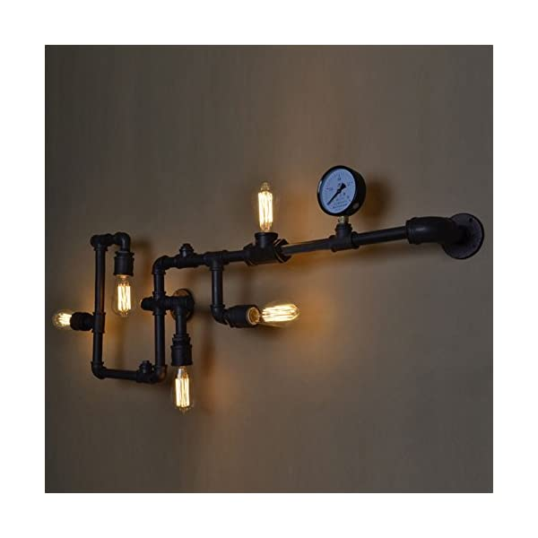 BAYCHEER HL371017 Industrial Retro Vintage Style Farmhouse Industry Steam Punk Water Pipe Wall Sconce Wall Light lamp with use 5 Each 40w E26 Bulbs 3