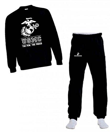 Marines Logo Sweatshirt (USMC Marine Few The Proud White Marines Logo Sweatshirt and Sweatpants Set Black, Large)