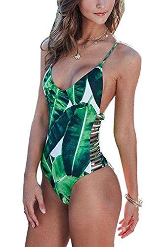 Women Bodysuit Bathing Suit Vintage Beach Wear Print Bandage Monokini,Green, M(US ()
