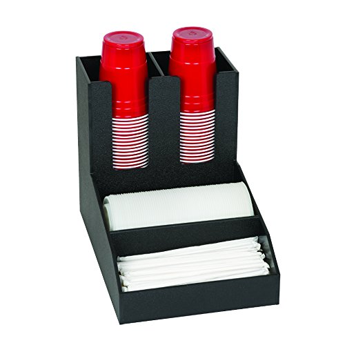 Dispense-Rite CLCO-2BT Four Compartment Countertop Cup Lid, Straw and Condiment Organizer