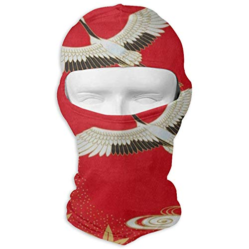 BELLM Red Japanese Crane Cherry Blossom Maple Full Face Masks UV Balaclava Hood Ski Sports Cap Motorcycle Neck Warmer Tactical Hood for Cycling Outdoor Sports ()