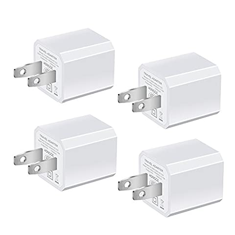 USB Wall Charger, HONGGE 5V/1A Universal Portable Travel Adapter High Speed 1.0A Output for iPhone iPad Samsung HTC LG iPod Nokia (White-4 (Wall Adaptor For Iphone 5)