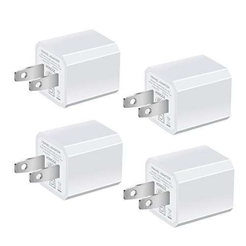 USB Wall Charger, HONGGE 5V/1A Universal Portable Travel Adapter High Speed 1.0A Output for iPhone iPad Samsung HTC LG iPod Nokia (White-4 Pack) (Mini Dc Rapid Charger)